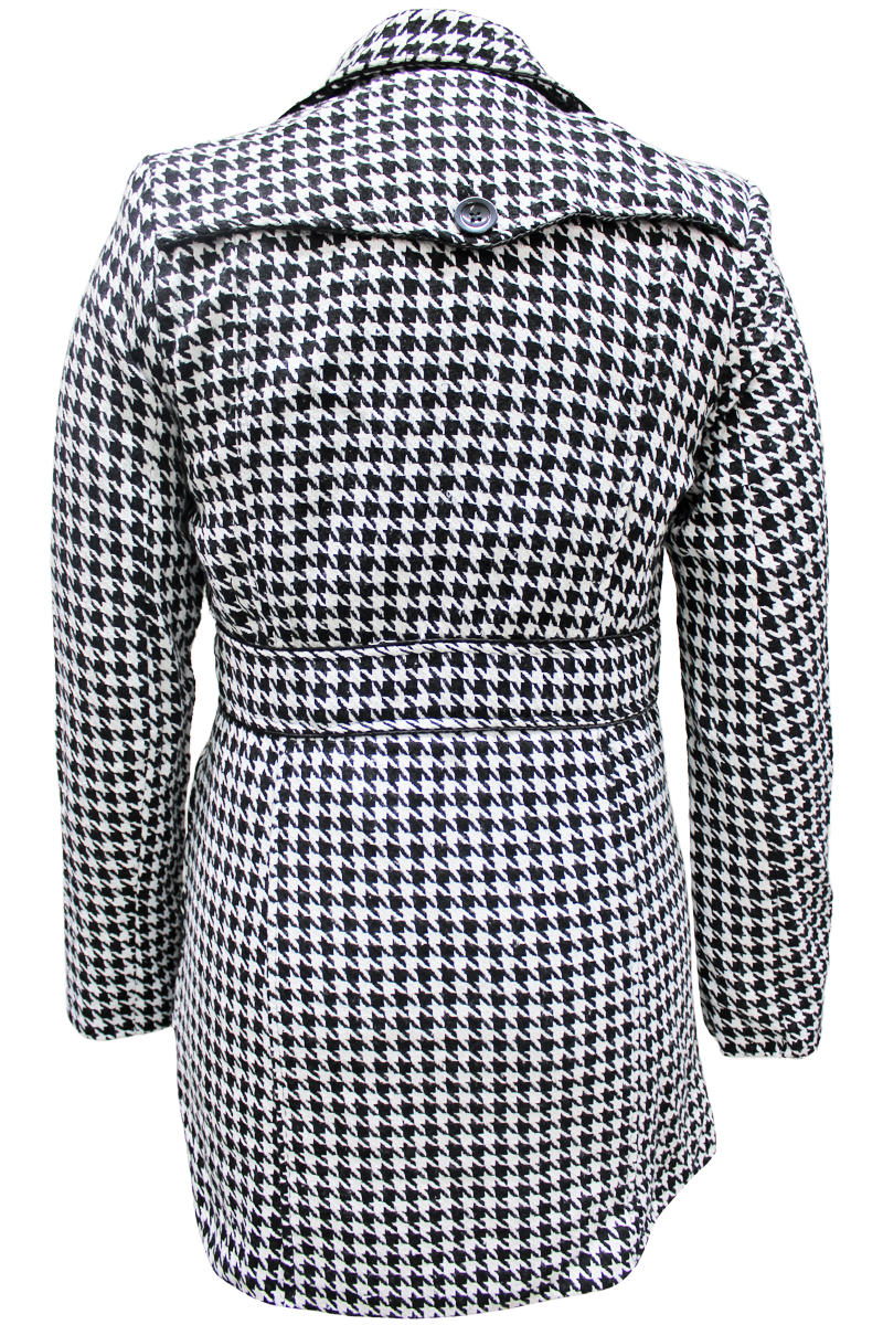 Houndstooth Button Coat