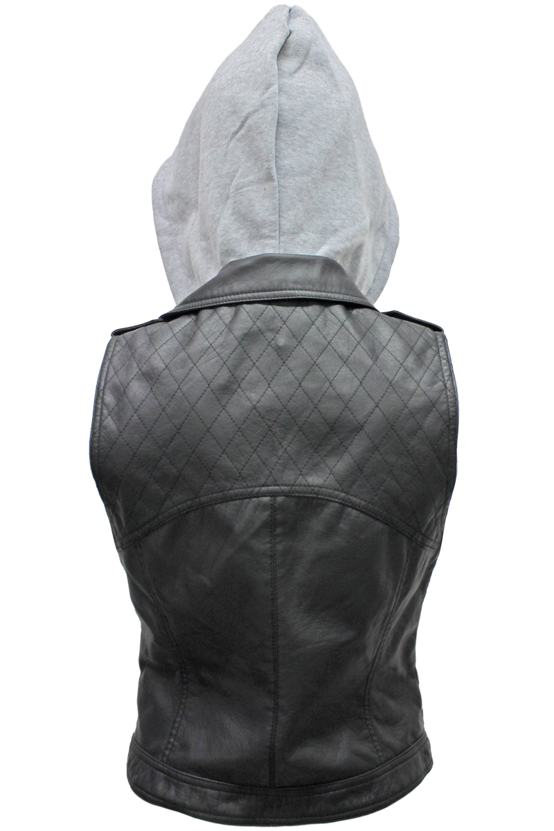 Hooded Faux Leather Vest - New Look - 2