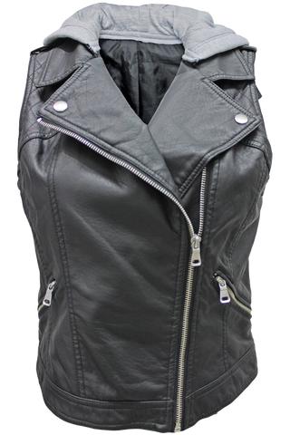 Hooded Faux Leather Vest - New Look - 1
