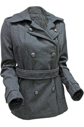 Belted Asymmetrical Zip Coat - New Look - 1