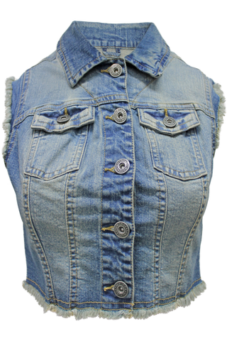Distressed Frayed Cropped Denim Vest