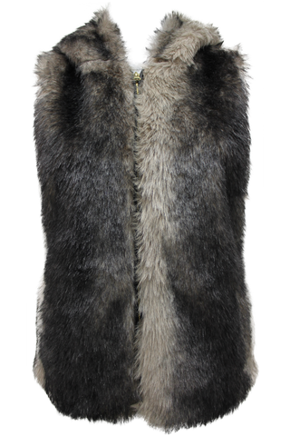 Hooded Faux Fur Vest - New Look - 1