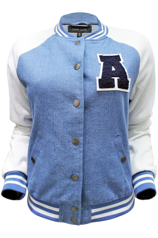 Denim Varsity Jacket - New Look - 1