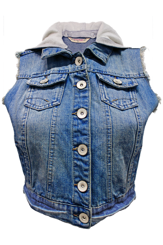 Hooded Denim Vest - New Look - 1