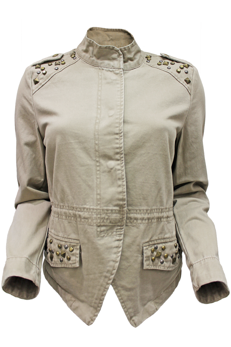 twill military jacket - khaki