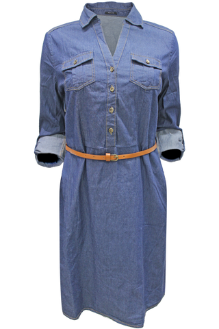 Belted Chambray Tunic Dress