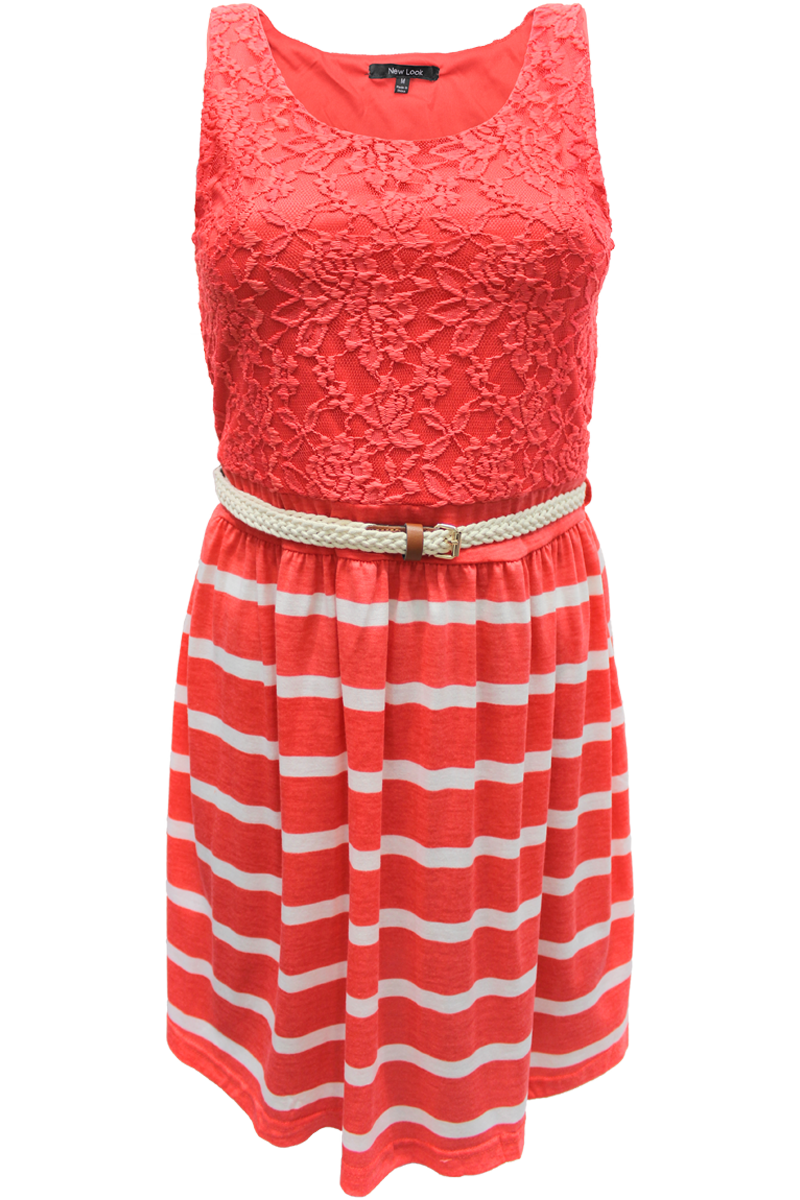 nautical belted sleeveless dress - coral