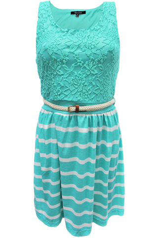 nautical belted sleeveless dress - mint