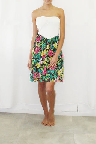 Tropical Print Strapless Dress