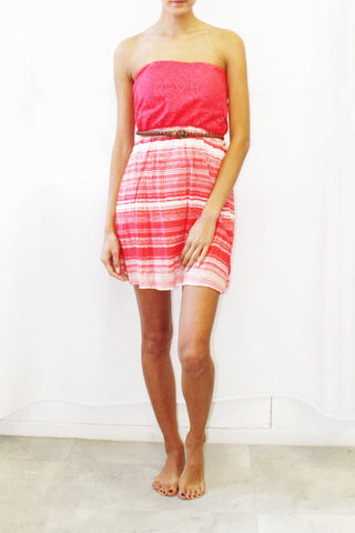 Lace Top Belted Tube Dress With Print Skirt (Coral / Royal)