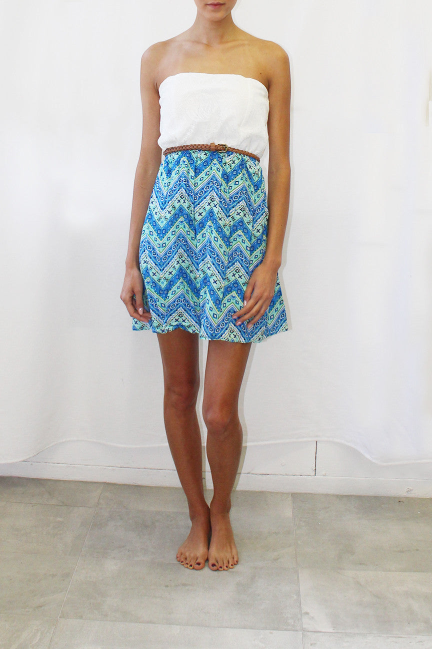 Strapless Dress with Chevron Print Skirt