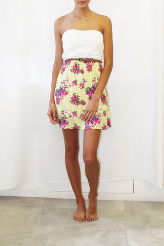 Lace Top Belted Tube Dress With Floral Print Skirt (3 Colors Available)
