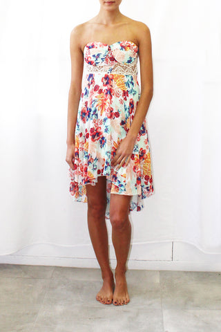 Floral Print High-Low Dress with Lace Overlay