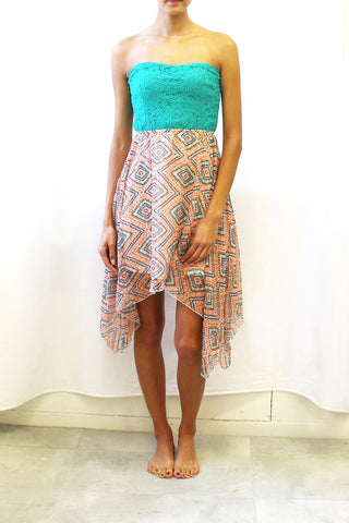 Lace Top High-Low Dress with Print Skirt