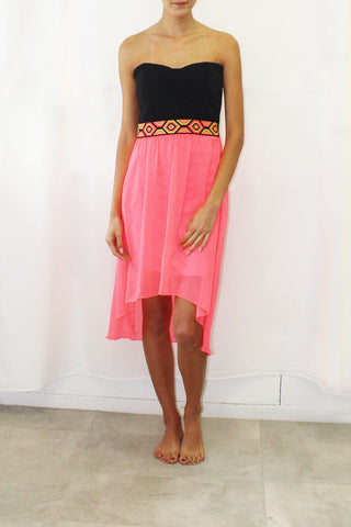 Tube Dress with Tribal Overlay and Neon Skirt