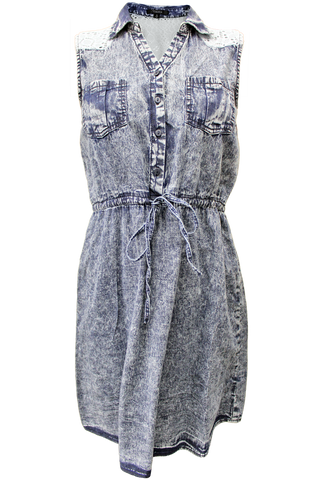 Acid Wash Denim Lace Dress