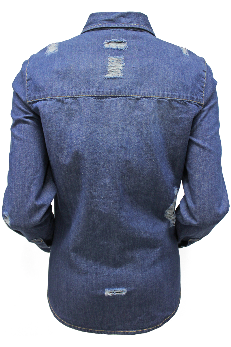 Distressed Pearl Snap Shirt - New Look - 2