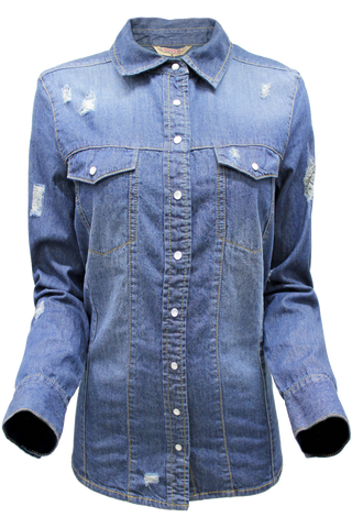 Distressed Pearl Snap Shirt