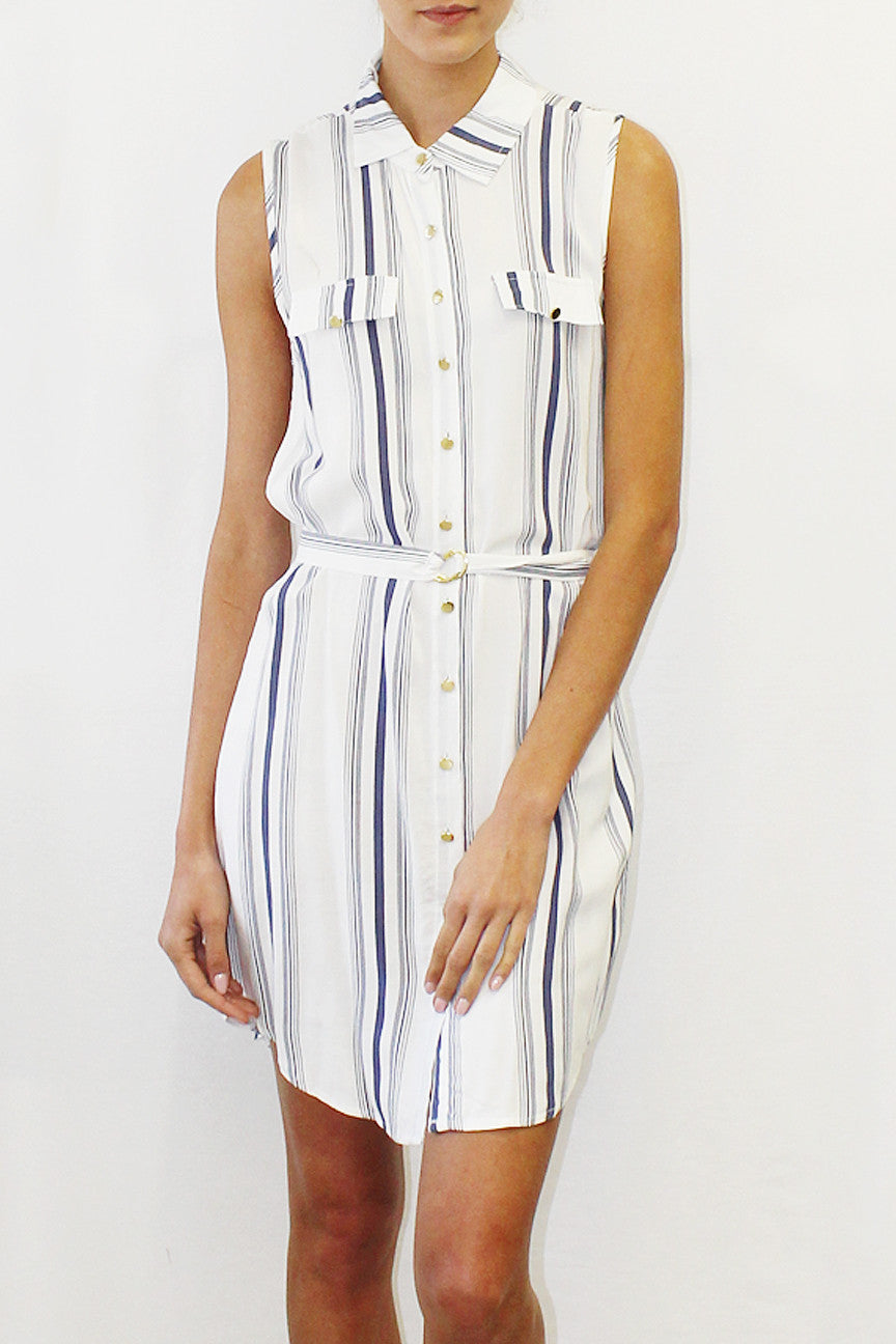 Striped Tie Waist Shirtdress