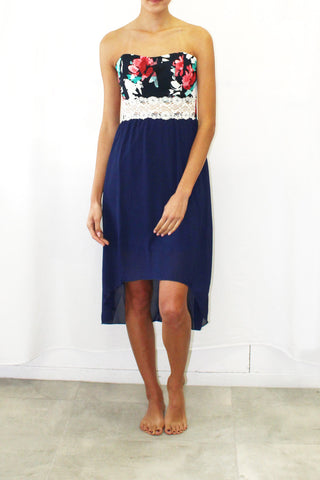 Floral Print Lace Overlay High-Low Dress (Navy / Coral)