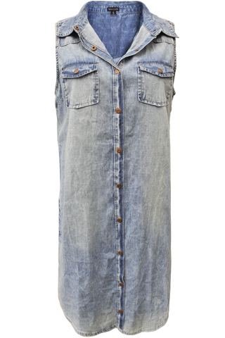 Acid Wash Denim Snap Dress