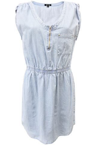 Ruched Shoulder Denim Dress