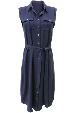 belted front pocket dress navy