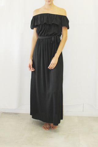 Flounced Maxi Dress (Black, Royal Blue, Coral)