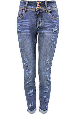 women's razor cut biker jeans - dark wash