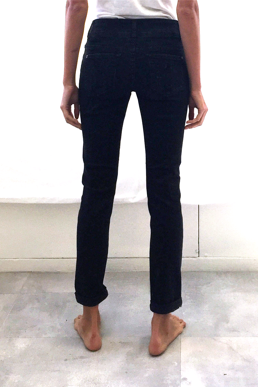 Distressed Mid Rise Black Jeans