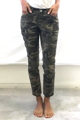 Mid Rise Ankle Skinny Jeans in Jet Black and Camo