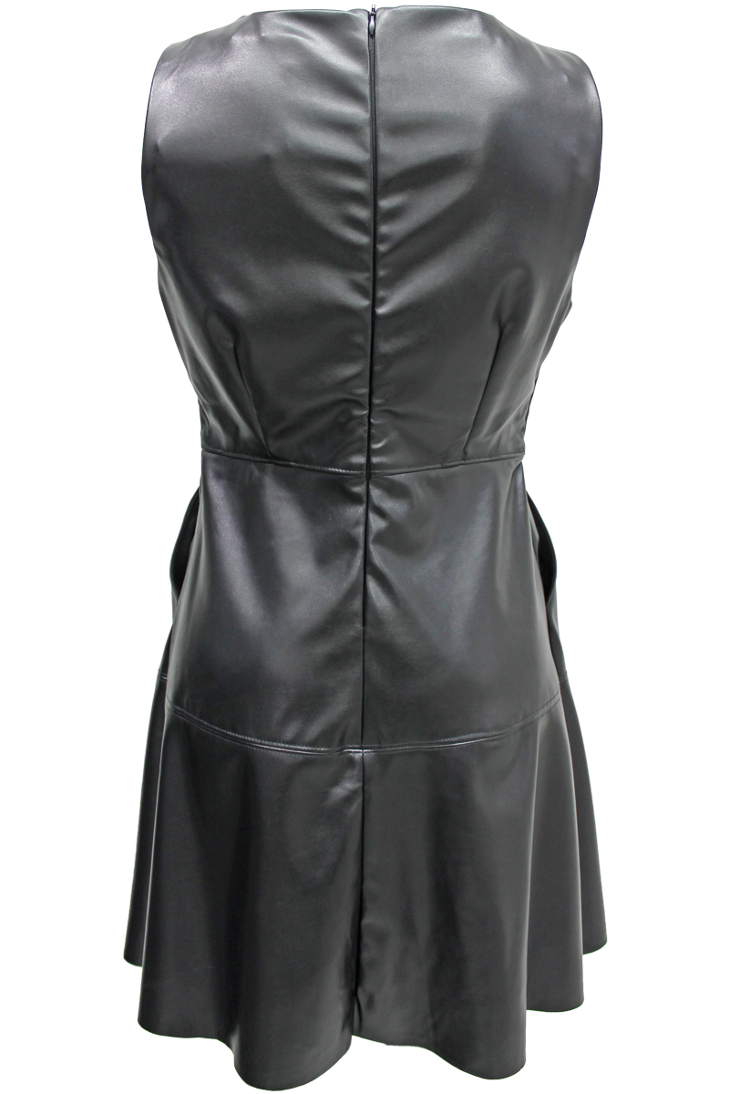 Faux Leather A-Line Dress - New Look - 2