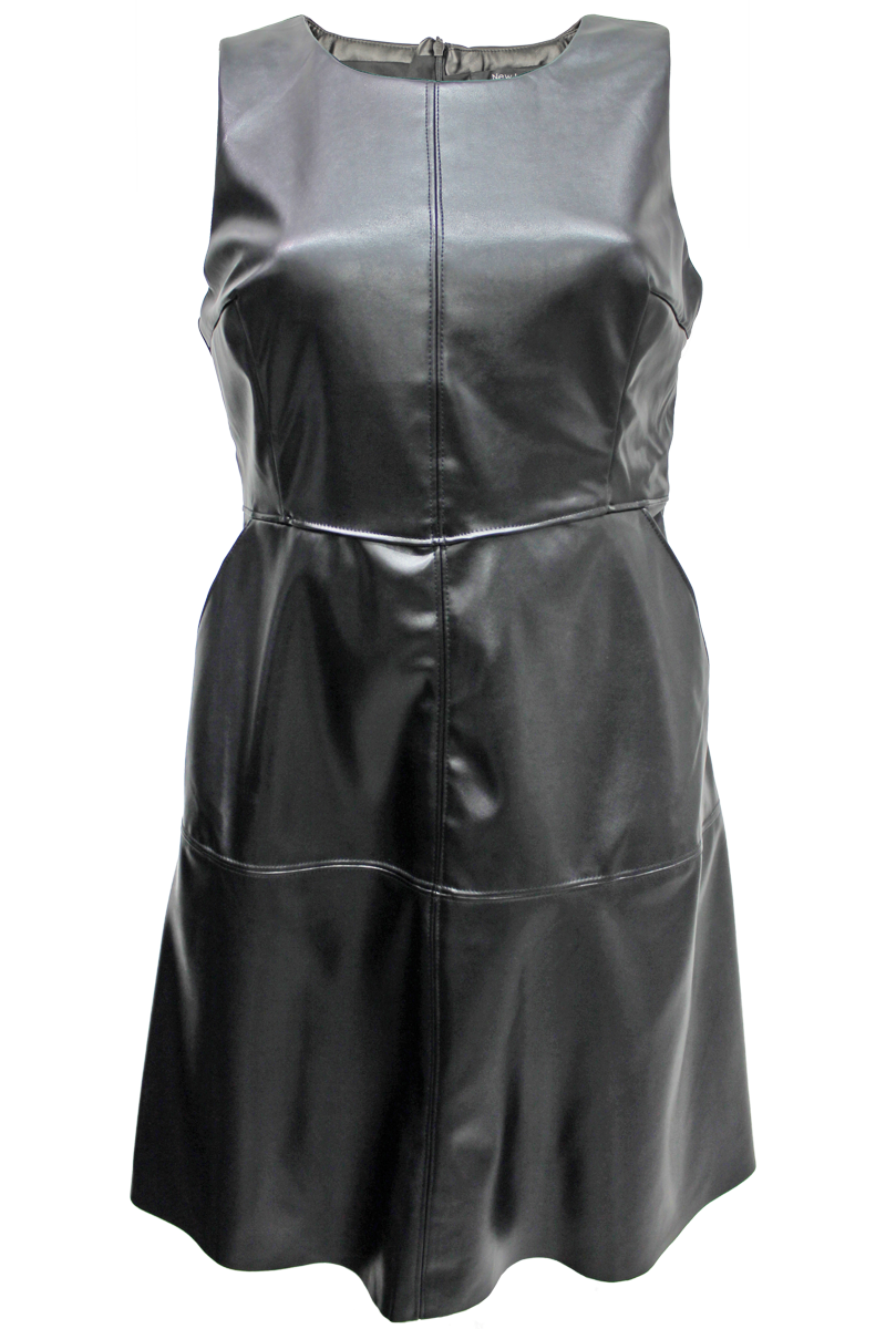 Faux Leather A-Line Dress - New Look - 1