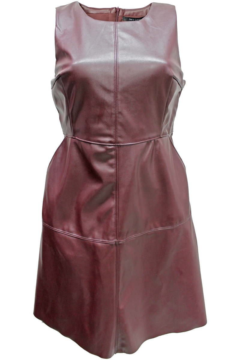 Faux Leather A-Line Dress - New Look - 3