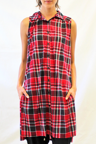 sleeveless plaid tunic