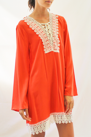tie front lace peasant dress orange