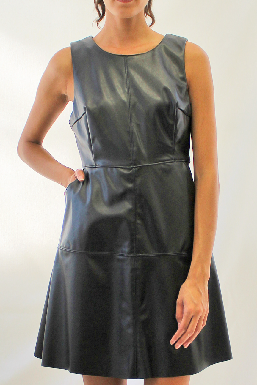 faux leather a-line dress - black