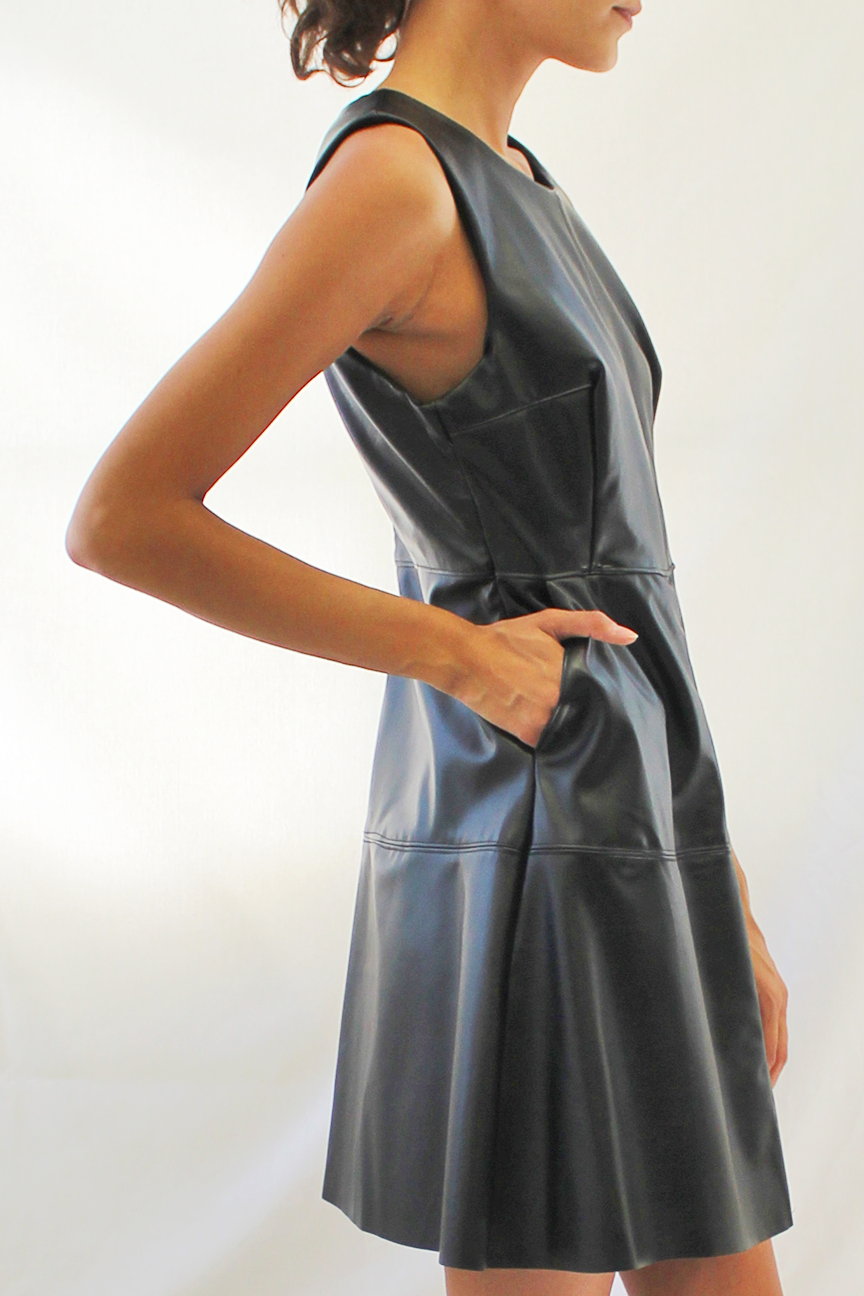 Faux Leather A-Line Dress