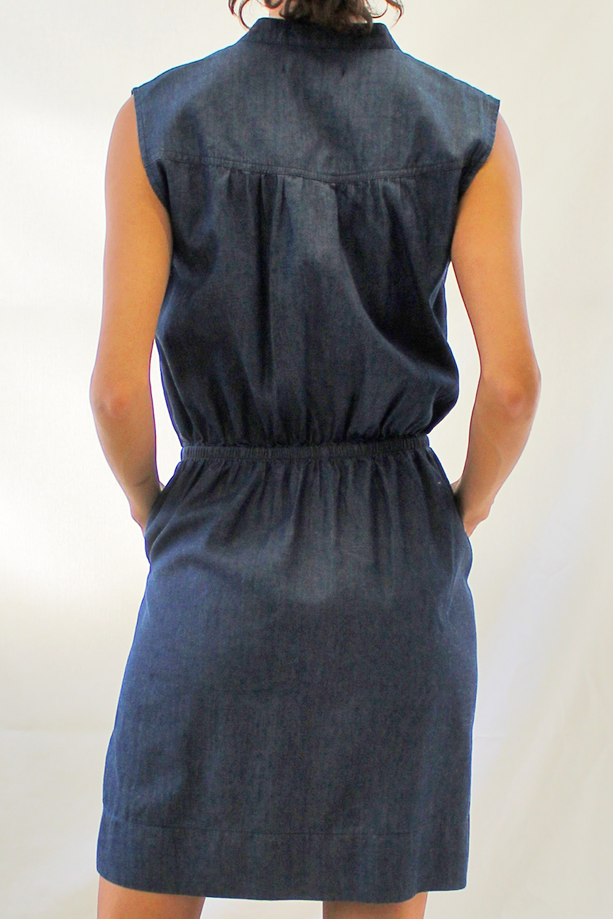 Zip Front Chambray Denim Dress