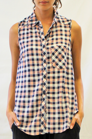 Sleeveless Plaid Blouse