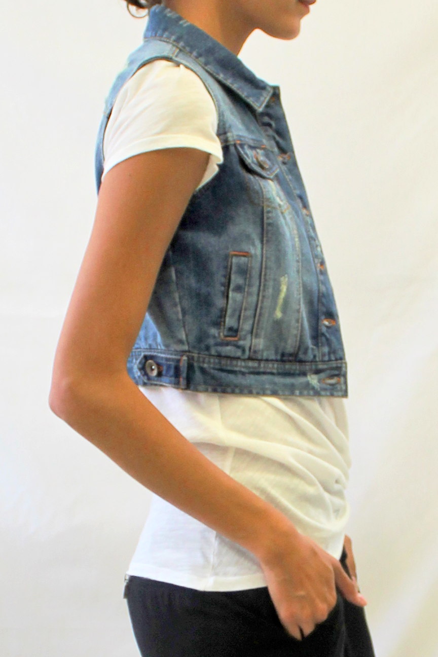 Distressed Cropped Denim Vest