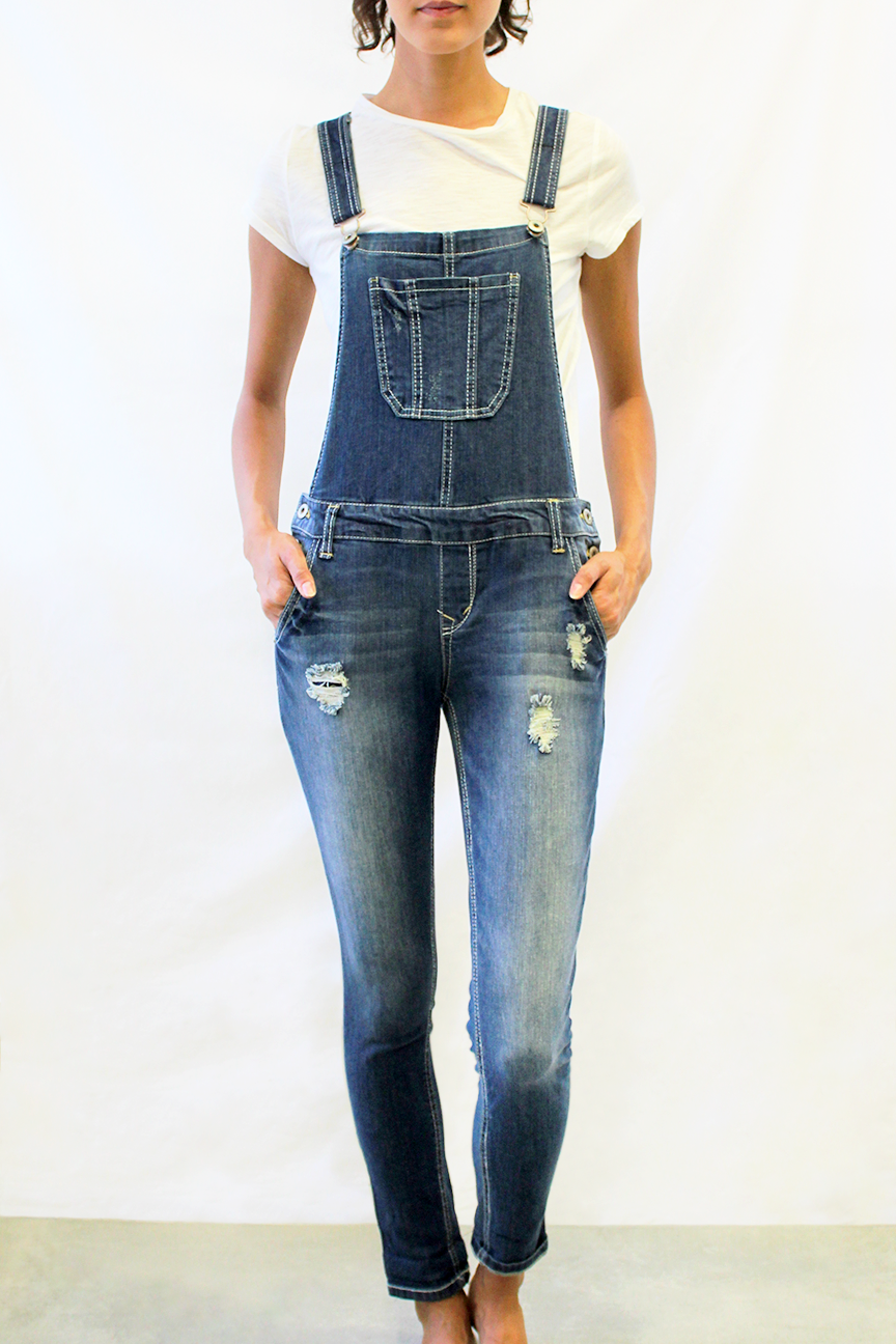 Crisscross Distressed Overalls