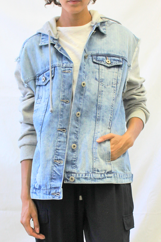 Distressed Hooded Boyfriend Jacket