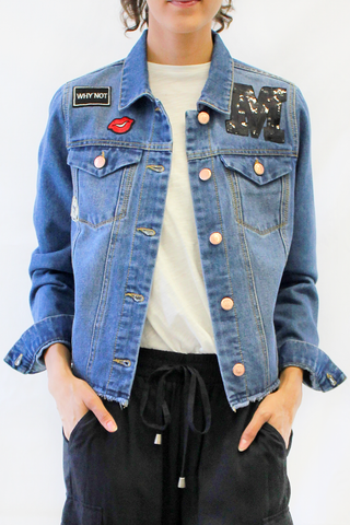 embroidered patched denim jacket with raw hem front photo