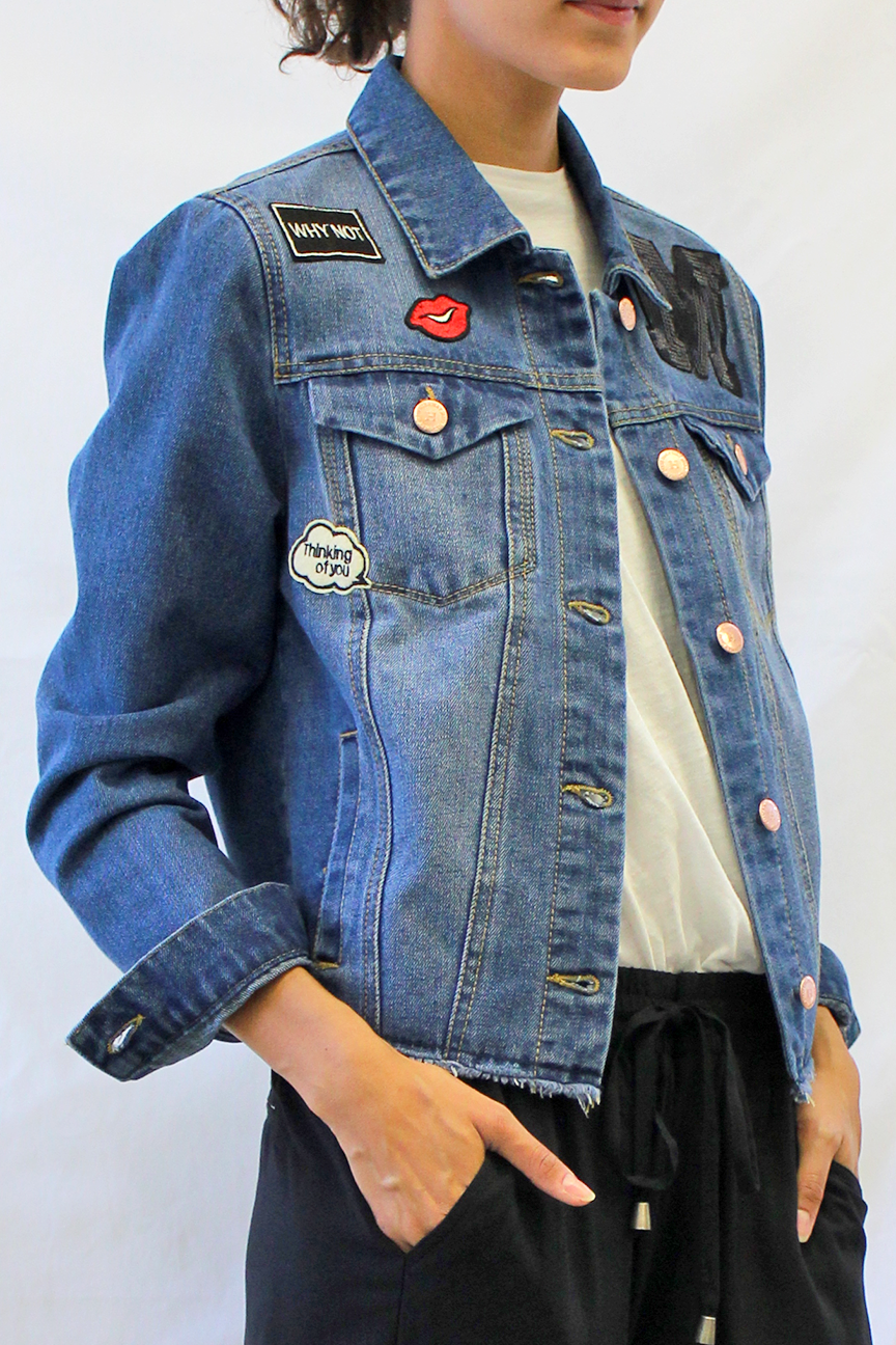 embroidered patched denim jacket with raw hem angle photo