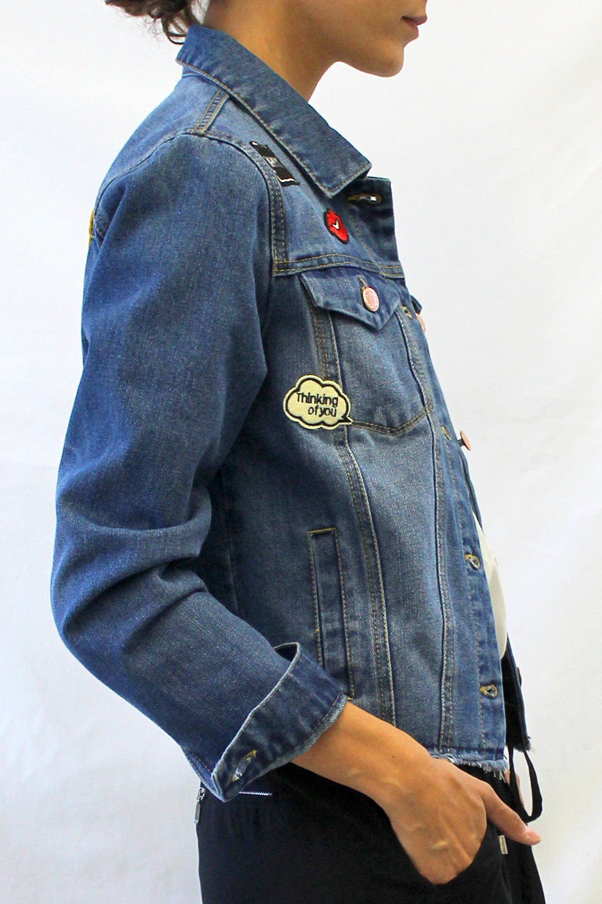 embroidered patched denim jacket with raw hem side photo