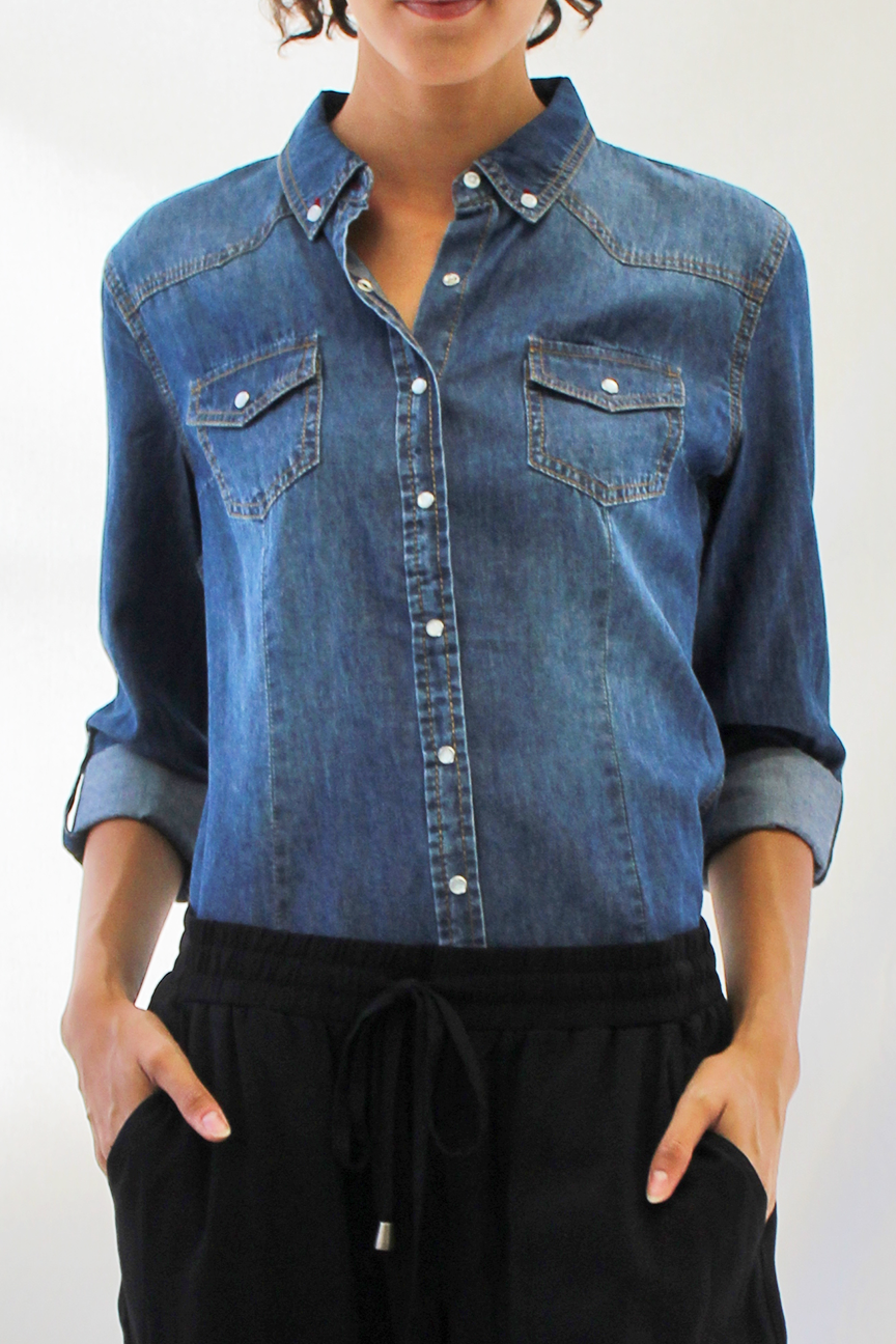 pearl snap chambray - dark wash