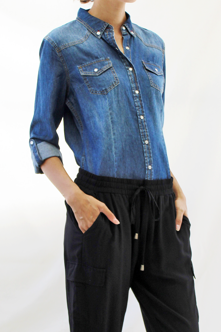 Pearl Snap Chambray