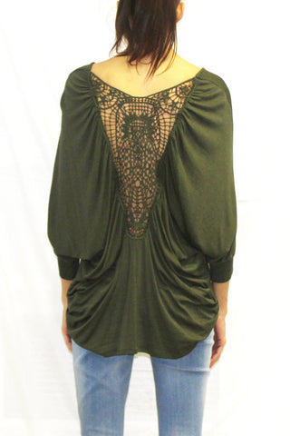 Dolman Sleeve Crochet Back Blouse (Olive / Wine)