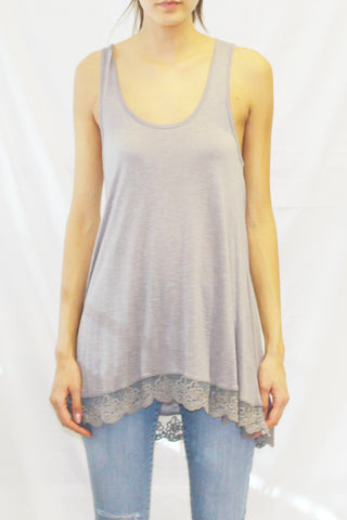 High Low Lace Hem Top (Charcoal / Plum)